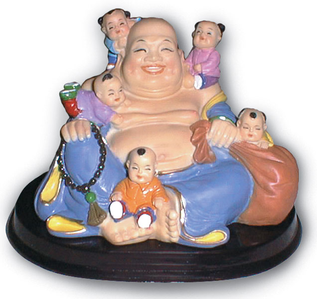 Buddha with 5 Children: Painted