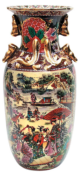 "12"" Oriental Vase: Village Scene"